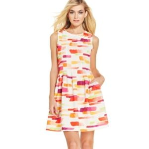Vince Camuto Paint Stroke Fit and Flare Dress…